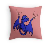 Blue Dragon Rider Throw Pillow