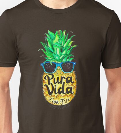 Pineapple in Sunglasses Costa Rica Summer Pure Life Unisex T-Shirt