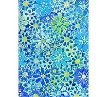 blue flower pattern Photographic Print