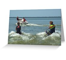 Dad and the boys playing in the water. Greeting Card