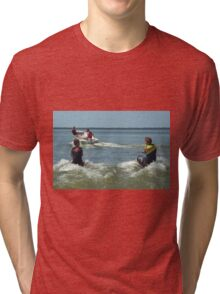 Dad and the boys playing in the water. Tri-blend T-Shirt