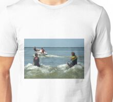 Dad and the boys playing in the water. Unisex T-Shirt