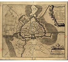 Vintage Map of Ghent Belgium (1709) Photographic Print