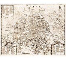Vintage Map of Paris France (1742) Photographic Print