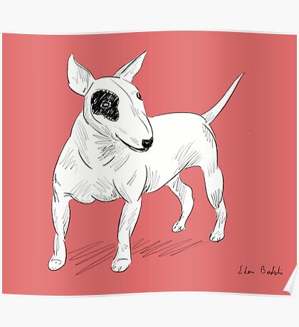 Cool Bull Terrier Doodle Poster
