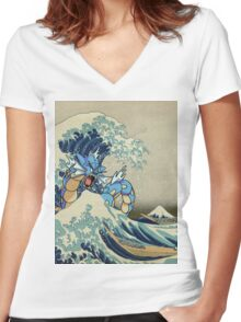 The Great Wave Off Gyarados Women's Fitted V-Neck T-Shirt