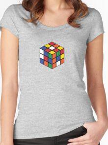 Rubik's Cube - Regular Body Black Women's Fitted Scoop T-Shirt