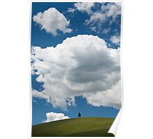 A lone tree under a heavy white cloud Poster