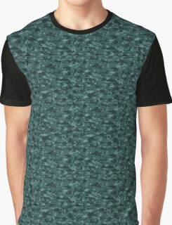 Digital Navy Pixel Camouflage Pattern Graphic T-Shirt