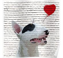 English Bull Terrier Banksy Style Poster