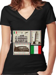 Italy Symbols Women's Fitted V-Neck T-Shirt