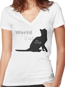 Cat day Women's Fitted V-Neck T-Shirt