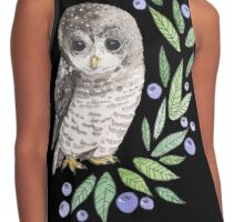 A cute owl with blueberries Contrast Tank