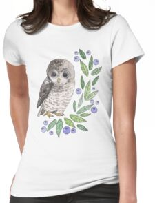 A cute owl with blueberries Womens Fitted T-Shirt