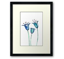 Watercolor blue bellflowers Framed Print