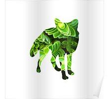Green Plant Fox Poster