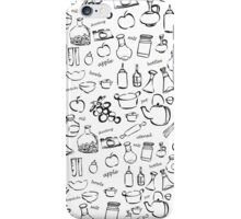 hand drawn cooking and kitchen tools doodles on orange background. vector illustration. iPhone Case/Skin
