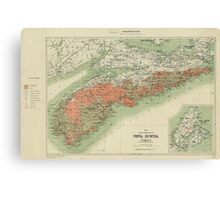 Vintage Geological Map of Nova Scotia (1906) Canvas Print