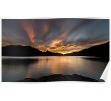 Sunset behind the mountains Poster