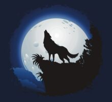 Wolf Howling at Blue Moon Kids Clothes