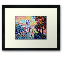 Riding Into the Morning Mist Framed Print