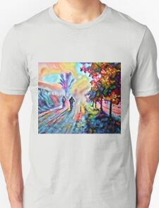 Riding Into the Morning Mist Unisex T-Shirt