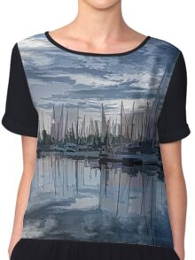 Sailboat Summer Impressions Chiffon Top