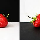 Strawberries On Black And White by Alan Harman