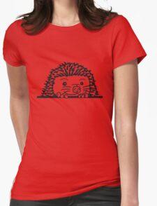 baby comic cartoon süßer kleiner niedlicher igel verstecken schild gucken mauer rand  Womens Fitted T-Shirt