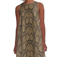 Bronze Brown and Black Python Snake Skin Reptile Scales A-Line Dress