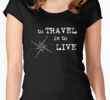 To Travel is to Live - Travel Quote - Hans Christian Anderson - white letters Women's Fitted Scoop T-Shirt