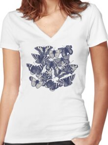 butterfly strawberry pink Women's Fitted V-Neck T-Shirt