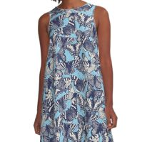 butterfly sky blue A-Line Dress