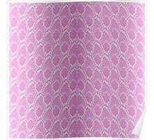 Pink and White Python Snake Skin Reptile Scales Poster