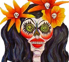 Calavera with Orange Flowers in Black Hair by Candace Byington