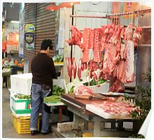 Butchery at the markets  Hong Kong Poster