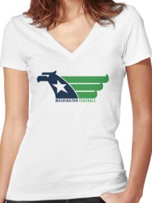 DEFUNCT - WASHINGTON FEDERALS Women's Fitted V-Neck T-Shirt
