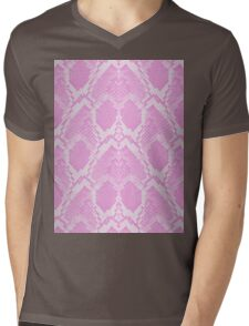 Pale Pink and White Python Snake Skin Reptile Scales Mens V-Neck T-Shirt
