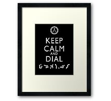 Keep Calm and Dial Earth (white) Framed Print