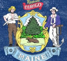 Maine State Flag Distressed Vintage  Sticker