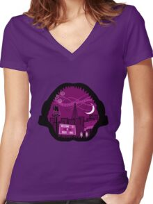 Jaws Welcome to Night Vale Landscape Women's Fitted V-Neck T-Shirt