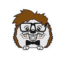 anzug fliege grinsen spange nerd geek schlau dumm intelligent freak lustig frech teenager hornbrille igel comic cartoon  Photographic Print