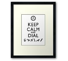 Keep Calm and Dial Earth (black) Framed Print