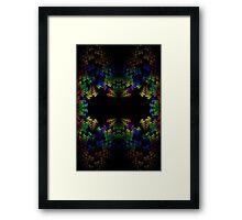 Tetris-like Abstract Black Colorful Rainbow Geometric Pattern Framed Print