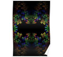 Tetris-like Abstract Black Colorful Rainbow Geometric Pattern Poster