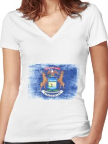 Michigan State Flag Distressed Vintage  Women's Fitted V-Neck T-Shirt