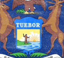 Michigan State Flag Distressed Vintage  Sticker