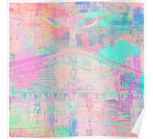 Totem Log Cabin Abstract - Pastel Poster