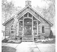 indigo falls chapel drawing by Mike Theuer