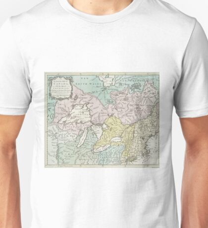 Vintage Map of Great Lakes & Canada (1761) Unisex T-Shirt
